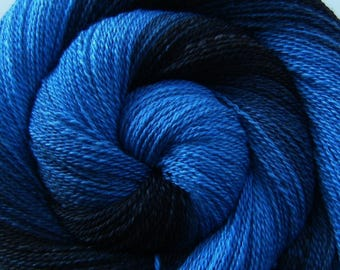 Handspun Yarn Lace Weight Gradient - MIDNIGHT EXPRESS - Handpainted 70/30 Polwarth/Mulberry Silk, 657 yards, gift for knitter, weft yarn