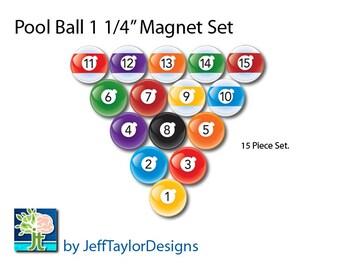 "Billiards Pool Ball Small 1 1/4"" Magnet Set"