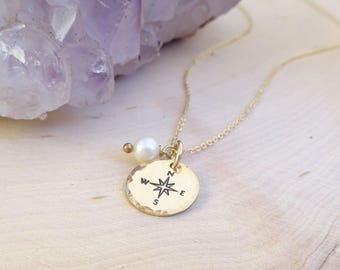 Compass Rose Necklace with Freshwater Pearl, Graduate gift, bridesmaid, retirement, handstamped, dainty necklace, otis b