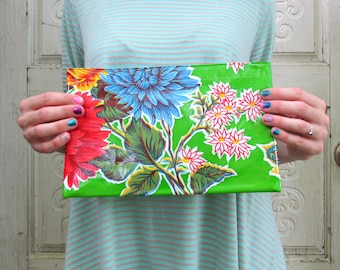 """Green Retro Floral Oilcloth Clutch, for makeup or purse. Regular size, 10.5"""" by 6.25"""""""