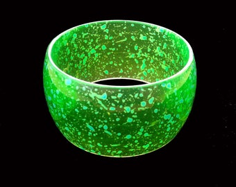 Lucite Bangle Wide Green with Blue Translucent Unique