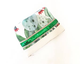 "Cotton makeup ""santa fe"" cactus and glitter patterns / / toiletry bag / / Christmas idea"