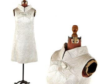 Vintage 1960's Bright Metallic Space Age Silver Brocade Mod Shift Cocktail Party Dress M