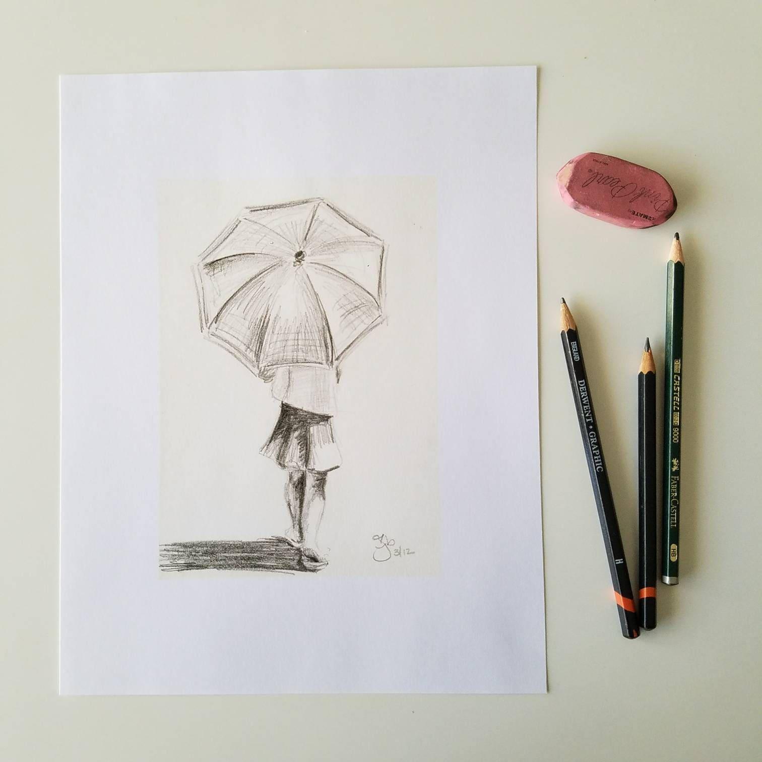 with umbrella 8x10 art print