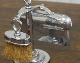 vintage chrumb tray and brush on stand
