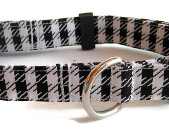 Black and White Houndstooth Check Dog Collar size Large