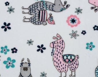 Blush No Prob Llama Cuddle Print Minky Fabric, fromShannon Fabrics Inc. Cuddle Prints Collection, #NOPROBLLAMABL-One Yard Cut
