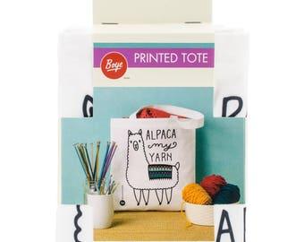 "Boye Tote Bag ""Alpaca My Yarn"" 13.5x13.75 inches, 100% polyester"