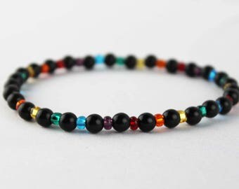 Rainbow Beaded Bracelet for Gay and Lesbian Pride
