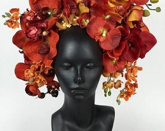Orange Orchid Headdress Headpiece