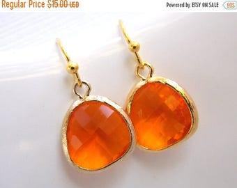 SALE Orange Earrings, Glass Earrings, Tangerine, Gold Earrings, Carnelian, Bridesmaid Earrings, Bridal Earrings Jewelry, Bridesmaid Gift