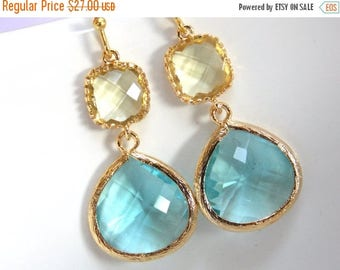 SALE Blue Earrings, Yellow Earrings, Aquamarine, Glass Earrings, Citrine, Aqua, Light Blue, Gold Earrings, Bridesmaid Earrings, Bridesmaid G