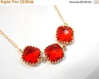 SALE Orange Necklace, Glass Carnelian, Red Gold Orange, Gold Filled Necklace, Tangerine, Bridesmaid Necklace, Bridal Jewelry, Bridesmaid Gif