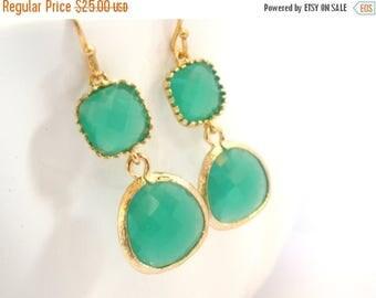 SALE Green Earrings, Glass Earrings, Gold Green Earrings, Palace Green, Wedding, Bridesmaid Earrings, Bridal Earrings Jewelry, Bridesmaid Gi