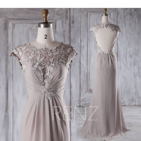 Taupe chiffon bridesmaid dresslace cap sleeve wedding for Taupe lace wedding dress