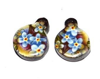 Ceramic Earrings Charms Pair Handmade Rustic Rose Floral