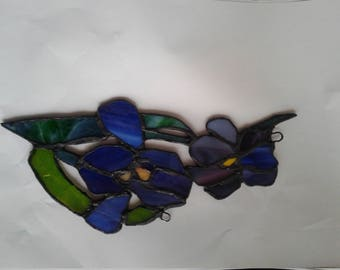 Stained glass iris suncatcher