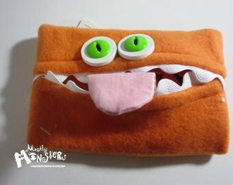 Kleenex Kreature; Tissue Holder; Pocket Tissue; Travel hankie;  back to school; purse pal; tissue cover; orange tissue monster