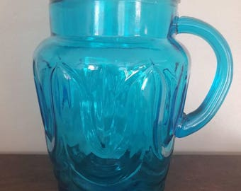 Vintage Aqua Blue Glass Pitcher in Tulip Design.