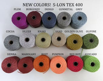 S-Lon Tex 400 Beading Cord, Kumihimo, Macrame, Crochet Cord, 0.9mm Diameter, 35 Yard Spool, Choice of Colors
