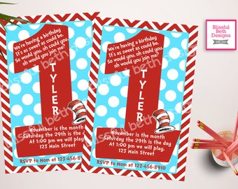SEUSS FIRST BIRTHDAY Dr. Seuss First Birthday Invitation, Printable Dr. Seuss First Birthday Invitation, Seuss First Birthday Invite