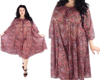 RESERVED Plus Size 1970's Vintage Floral Tent Dress - Size  XL - 3X