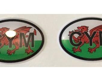 "Wales CYM Domed Gel (2x) Stickers 0.8"" x 1.2"" for Laptop Tablet Book Fridge Guitar Motorcycle Helmet ToolBox Door PC Smartphone"