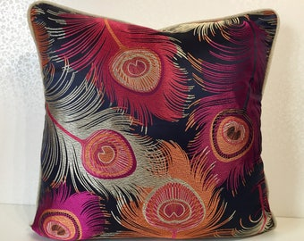 Navy silk pillow Fuschia pink FEATHER DESIGN cushion Modern silk pillow Orange cushion cover Fawn Linen Osborne and Little MoGirl DESIGNS