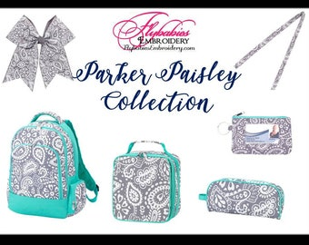 Personalized Parker Paisley Backpack ~ Lunch Box ~ Hairbow ~ Lanyard ~ ID Holder ~ Pencil Case ~ Monogrammed Grey Paisley Bookbag ~FREE ship