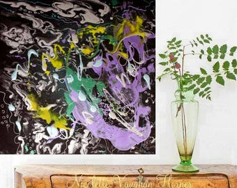"""Original 24""""Contemporary Modern Fluid painting,Turquoise,purple,Black,silver, Ready to hang  by Nicolette Vaughan Horner"""
