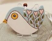 Ceramic Pottery Heart Flower Bird Hanging Decoration, Bird Decor, Nature Decor, Wall Decor, Christmas Tree Ornament, Bird Animal Totem