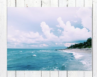 Beach House Art | Ocean Photography | Turquoise Sea Over Endless Blue Horizon | Large Photo Wall Art Decor Pictures | Coastal Decor Beach