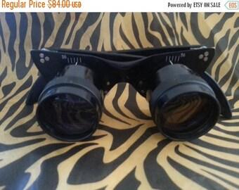 On Sale 1950's 1960's Vintage Cat's Eye Binocular Glasses Funky Mid Century Prop Costume Collectible Accessory Retro Rockabilly Decor