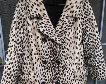 On Sale Vintage Leopard Coat by Morocco Styled by Fairmoor  1960's Faux Fur Jacket Mid Century Mad Men Mod Stylish Hipster  Size L XL