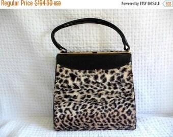 On Sale 1960's Vintage Leopard Faux Fur Handbag Large Garay Bag * Retro Rockabilly Mid Century Purse * Old Hollywood Regency Glamour