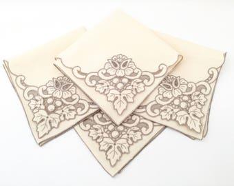 Embroidered Napkins - Linen Napkins - Wedding Napkins - Vintage Napkins Set of 6 Napkins Lace Napkins - Table Linens - Table Napkins Cotton