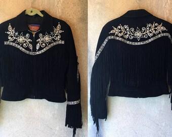 Black FRINGE Leather Suede Gold Trim Brocade Western Flower Jacket