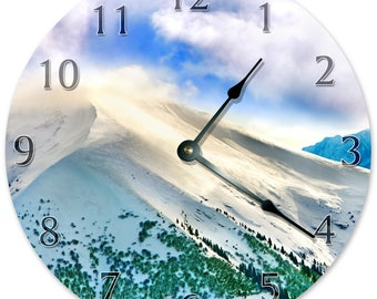 "10.5"" SNOWY MOUNTAIN Range Clock - WHITE Clock - Living Room Clock - Large 10.5"" Wall Clock - Home Décor Clock - 5870"