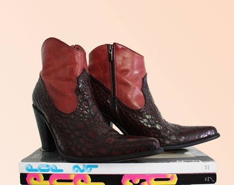 90s Cowgirl Ankle Boot Burgundy Pink Leather Western Bootie Cowboy Hella Hot