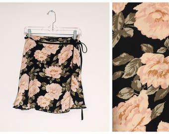 Large Floral Rose 90s Inspired Wrap Skirt Shred Threads Original OOAK