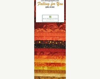 "20 % off thru 7/4 ESSENTIAL GEMS ""Jelly Roll"" Wilmington fabric 24 2.5 inch strips Falling For You fall colors, orange brown gold blenders t"
