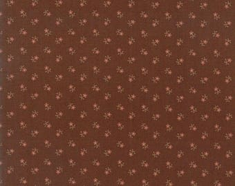 12% off thru July REFLECTIONS- tiny pink flowers on dark brown 38014-14-by the half yard- Jo Morton Moda Civil War Reproduction cotton fabri