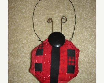 20 % off thru 8/20 Log cabin LADY BUG LADYBUG Quilted  pieced Ornament decoration