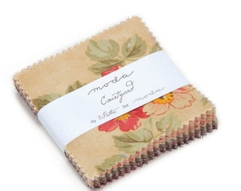 "15% off thru Mar.19th Mini Charm pack COURTYARD from  3 SISTERS 42 2.5"" squares Moda cotton fabric beautiful floral 44120MC"