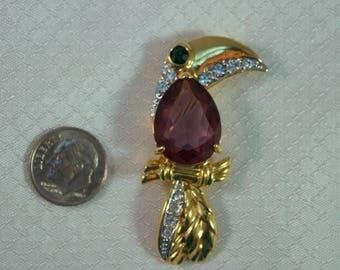 Swarovski Crystal Toucan Brooch, Amethyst Crystal Toucan Parrot Brooch