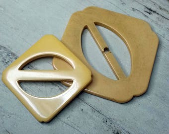 Yummy Pair of Vintage Butterscotch Bakelite Buckles or Scarf Slides ~ Square with Rounded Corners ~ 2 inch 51mm ~ 1-9/16 inch 40mm
