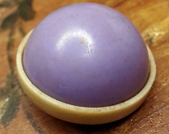 Wonderful Vintage Bubble Top Celluloid Coat Button ~ Pretty Thistle Lavender Color on French Ivory Ivoroid Base  ~ just over 15/16 inch 24mm