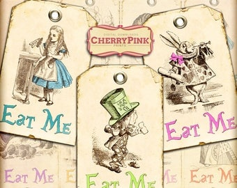 Alice party decorations, Eat me tag, Alice party supplies, digital collage sheet, digital download