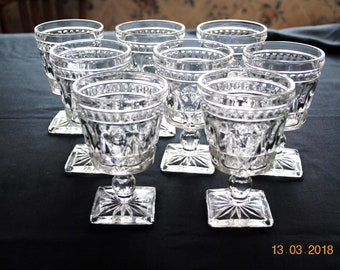 8 -  Colony Glass Clear Park Lane Water Glasses