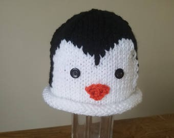 Penguin Beanie Hat for Newborn Babies, Infants and Toddlers, Knit Crochet Penguin Beanie